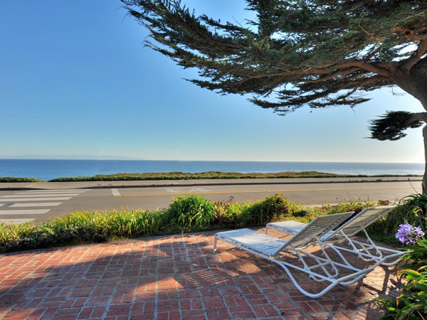 Santa Cruz Vacation Rental - 1600 West Cliff - Brick patio with fabulous ocean views